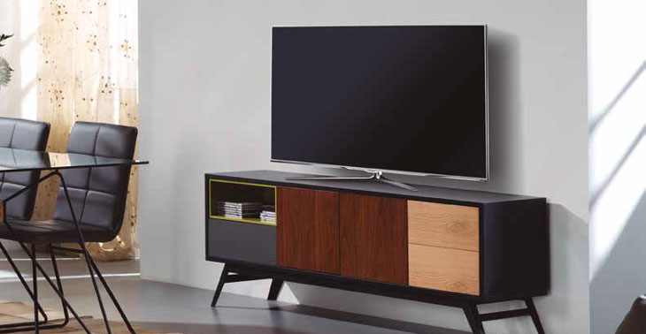 Mueble de TV KAY - Mueble de TV KAY, Fabricado en METAL / DM CHAPA ROBLE