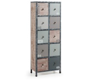 Cómoda de madera con estructura metálica - Cómoda en madera de abeto y estructura de metal. Acabado natural envejecido con patina blanca y pintura en tonos grises.