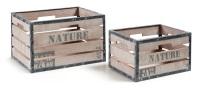 Set de 2 cajas de abeto - Set de 2 cajas en madera de abeto y estructura de metal. Acabado natural envejecido con patina blanca y pintura en tonos grises.