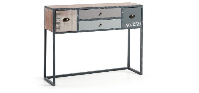 Consola de abeto con estructura de metal - Consola en madera de abeto y estructura de metal. Acabado natural envejecido con patina blanca y pintura en tonos grises.