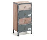 Cómoda baja en madera de abeto - Cómoda en madera de abeto y estructura de metal. Acabado natural envejecido con patina blanca y pintura en tonos grises.