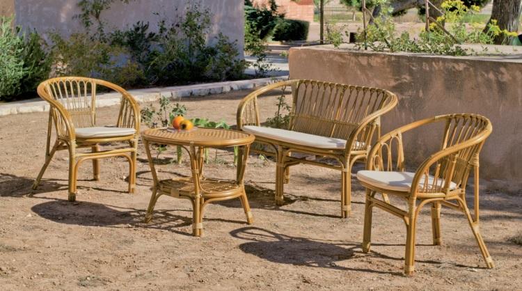Cojunto de sillones de exterior de rat n natural for Sillones de ratan para jardin