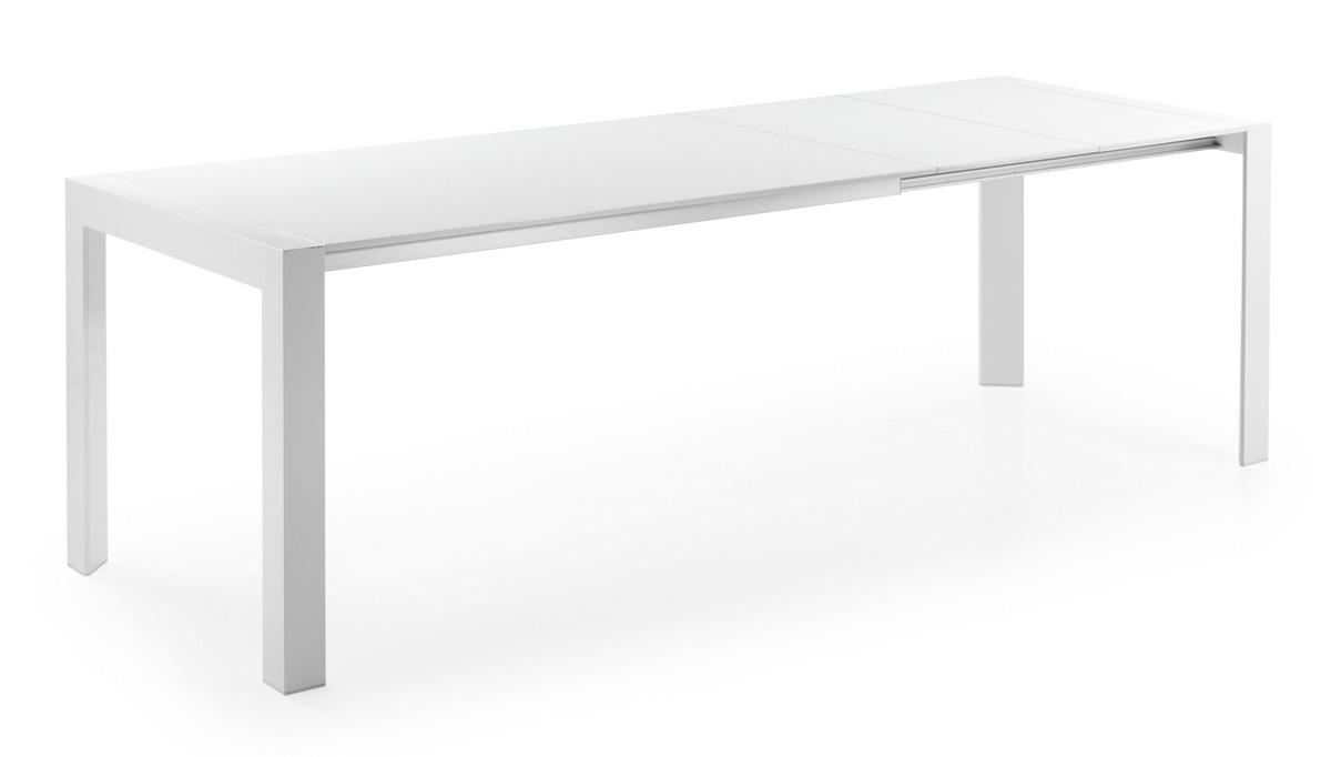 Mesa de madera blanca lacada for Mesa blanca extensible