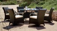 Conjunto de comedor circular exterior 3 - Mesa de circular ratán con sillones