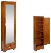 Zapatero de madera - Zapatero de madera marrón con puerta de espejo