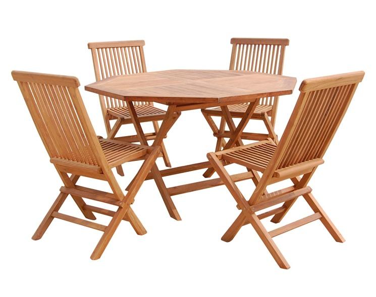Mesa sillas de teca para exterior  - Mesa y 4 sillas de teca para exteriores