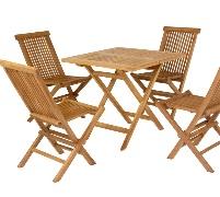 Comedor de exterior - Mesa plegable y 4 sillas de teca para exteriores