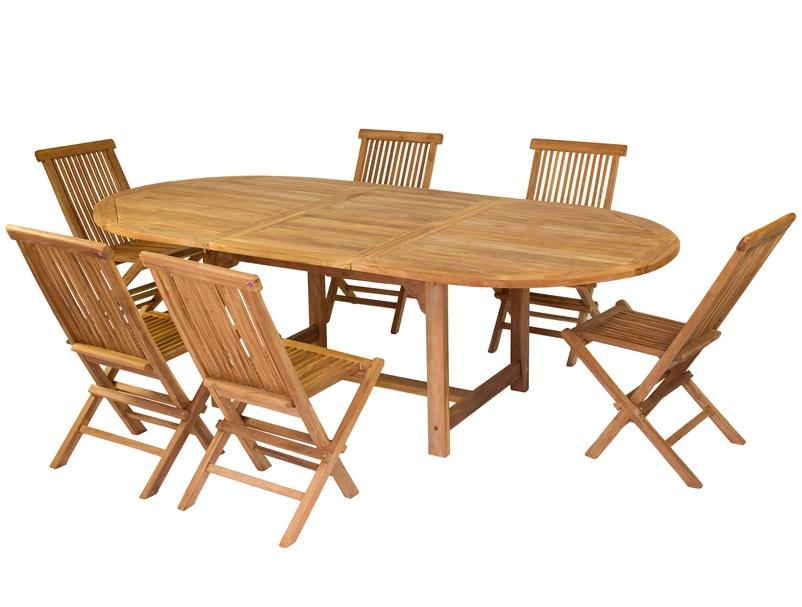 Mesa de teca extensible - Mesa y 6 sillas de teca para exteriores