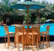 Conjunto terraza bar teca - Conjunto de terraza-bar de 6 plazas