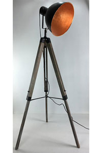 Lámpara de suelo trípode - Lámpara de suelo trípode, fabricado en madera y acero