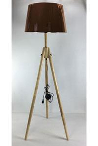 Lámpara de pie Metal/Madera - Lámpara de pie, fabricada en madera y acero