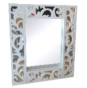 Espejo con marco plata o blanco - Espejo con marco de espejos en blanco o plata