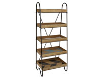 Estantería con 5 estantes - Estantería con 5 estantes fabricado en madera de paulonia y hierro
