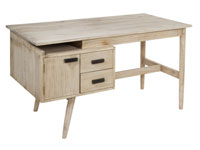 Escritorio en madera natural 2 cajones - Escritorio en madera natural 2 cajones, fabricado en  madera de mindi