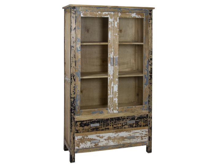 Vitrina 2 puertas madera decap - Vitrina 2 puertas madera decap madera de mindi