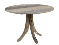 Mesa redonda de madera decapada