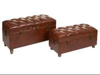Set 2 baúles marrón antic - Set 2 baúles marrón antic, fabricado en polipiel