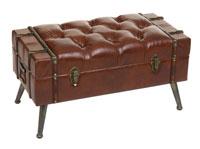 Pie de cama marrón antic 80 - Pie de cama marrón antic 80, fabricado en polipiel