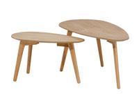 Juego de dos mesas auxiliares - Juego de dos mesas auxiliares, fabricado en MDF laminado en Roble