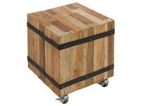 Cubo auxiliar con ruedas - Cubo auxiliar con ruedas, fabricado en madera de mindi