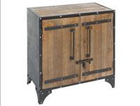Aparador hierro-madera - Mueble 2 puertas madera, fabricado en hierro y madera madera de abeto