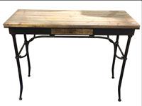 Consola madera y metal - Escritorio madera y metal, fabricado en hierro y madera de abeto