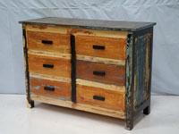 Cómoda 6 cajones Solo Vintage - Cómoda 6 cajones Solo Vintage, fabricado a mano en madera de mahogany