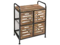 Mueble 4 cestas industrial - Mueble 4 cestas industrial, fabricado en metal y madera envejecida