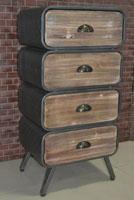 Sinfonier 4 cajones industrial -  Sinfonier 4 cajones industrial, fabricado a mano en madera de mahogany