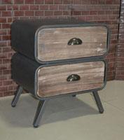 Mesa auxiliar industrial - Mesa auxiliar industrial, fabricado a mano en madera de mahogany