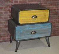Mesa auxiliar industrial - Mesa auxiliar industrial, fabricado en metal y madera colores decapados