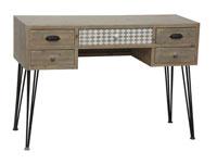 Consola con cajones estilo industrial - Consola con cajones estilo industrial, fabricado en madera de abeto y md madera de color natural estilo industrial