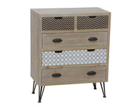 Cómoda con cinco cajones - Cómoda con cinco cajones, fabricado en madera de abeto y mdf en madera de color natural con estilo industrial