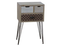Mesa auxiliar con tres cajones - Mesa auxiliar con tres cajones, fabricado en madera de abeto y mdf en madera de color natural con estilo industrial