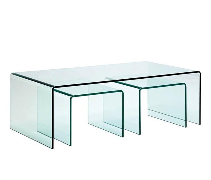 Mesa de centro nido de cristal moderna mia home for Mesa cristal moderna