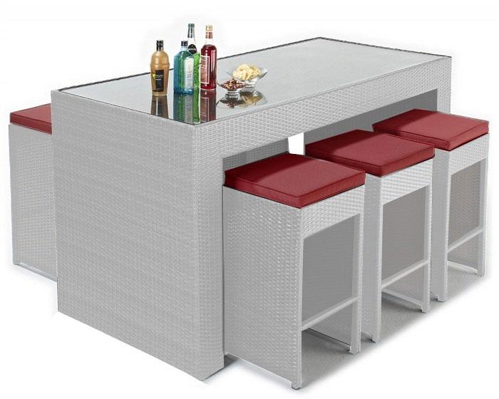 Pack MANA  - Pack MANÁ-BL, mesa alta + 6 taburetes, ratán blanco beige o chocolate