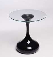 Mesa Drop - Mesa Drop, Base de fibra de vidrio con acabado blanco. Tapa de cristal templado con acabado transparente.