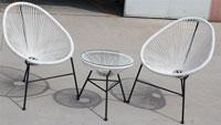 Pack sillónes y mesa Cancun - Pack CANCUN-BL, 2 sillas + mesa