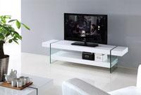 Mesa de TV Gastby - Módulo TV, GASTBY, cristal, lacado blanco, 160x40 cms