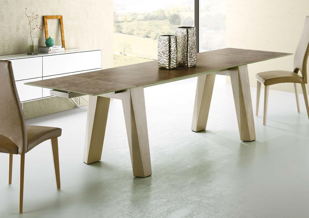Mia home mesa de comedor extensible sumatra madera for Mesa madera extensible