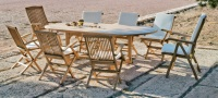 Set de comedor extensible exterior  - Mesa de madera con sillones