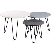 Set mesa de centro Fabio - Set mesa de centro Fabio, Fabricada en madera y metal