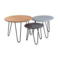 Set mesa de centro Nero - Set mesa de centro Nero, Fabricada en madera y metal