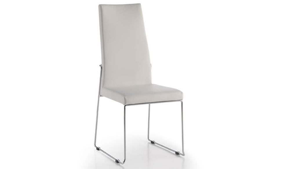 Silla tapizada en PVC con estructura de acero cromado - Silla tapizada en PVC con estructura de acero cromado