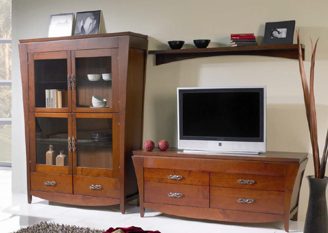 Juego de muebles para sal n de madera a coru a tarragona for Muebles de salon tv