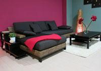 Conjunto de Sofa Thani - Conjunto de Sofa Thani, Estantería lateral, Sofá de ratán natural, mesa de centro
