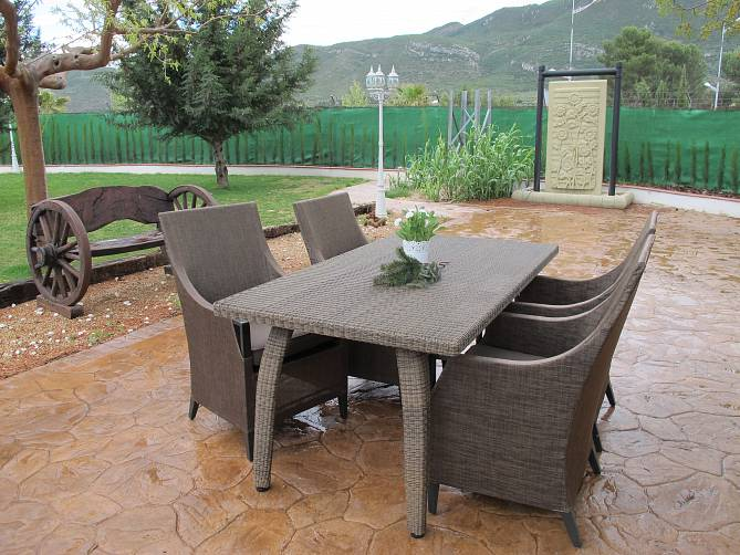 Juego comedor rattan sint tico jardines terrazas verano for Comedores homecenter