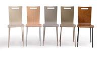 Silla Sara - Silla Sara, asiento de madera y estructura metálica