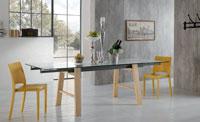 Mesa de comedor extensible HORNET - Mesa de comedor extensible HORNET, fabricada en madera y vidrio