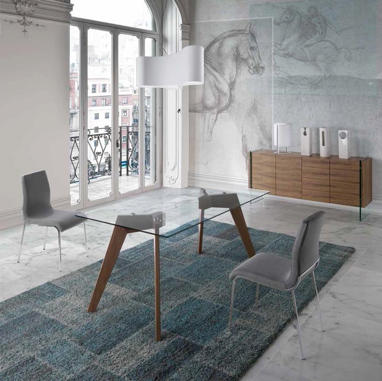 Mesa de comedor con tope de cristal w1008dt mia home for Mesa de comedor cristal y madera